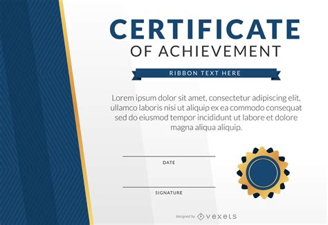 template for certificate of achievement certificate of achievement template mockup vector