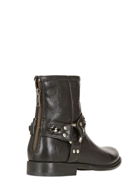 black frye boots lyst frye phillip chain leather ankle boots in black