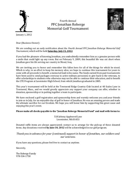 Sponsorship Letter Golf News Release Memorial Golf Tournament