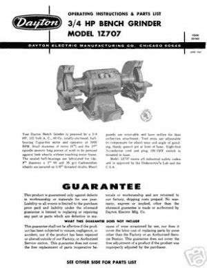dayton bench grinder manual dayton model 1z707 bench grinder instructions parts