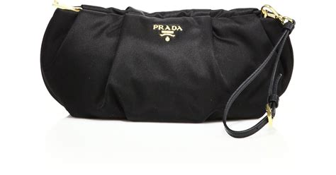 Prada Flat Ruched Clutch by Prada Ruched Clutch In Black Lyst