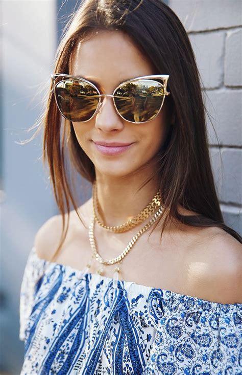 Quay Australia Gold Blue Sunglass quay australia sunglasses gold accessories