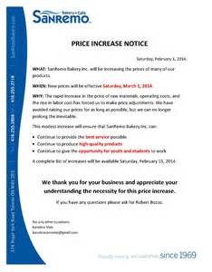 price increase march 1st 2014 sanremo bakery