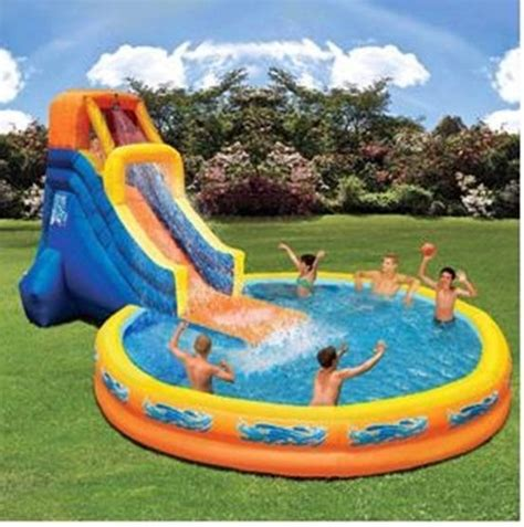 water slide backyard inflatable outdoor inflatable play fun pool polyester with pvc layer