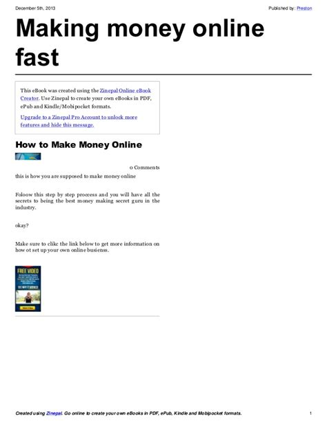 Make Quick Money Online - how to make money online fast