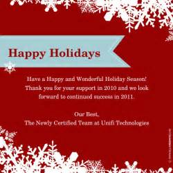 happy holidays template happy holidays from unifi technologies invitations