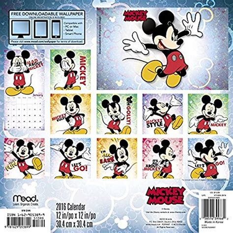 2018 mickey mouse wall calendar mead mickey mouse 2016 wall calendar electronics computers