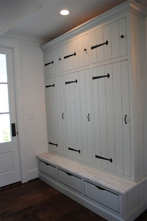 mudroom cabinets classic gambrel home with coastal interiors home bunch