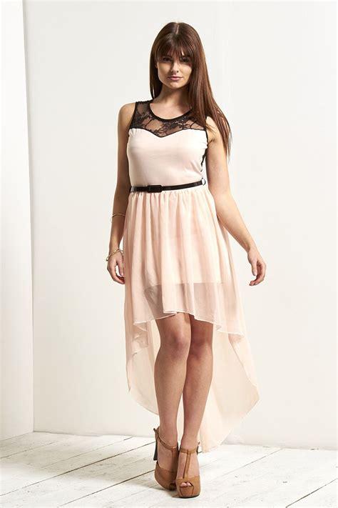 Vintage Lace Insert High Low Dress womens high low chiffon maxi dress lace mesh insert fishtail swing midi ebay