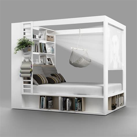 Enclosed Bookcases 4you 4 Poster Double Bed With Storage Amp Shelves In White