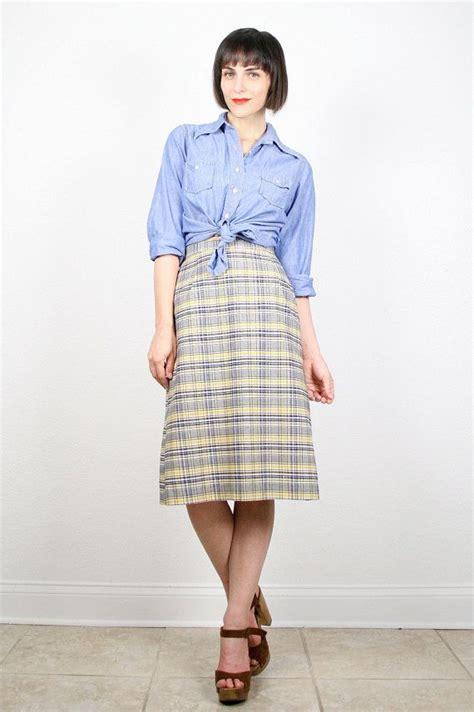 vintage midi skirt knee length skirt navy blue yellow