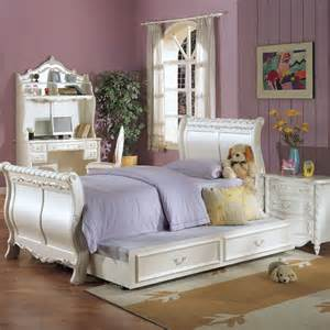 Bedroom Purple Girls Bedroom With White Furniture Set Home