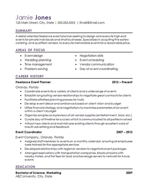 event coordinator resume  hospitality industry