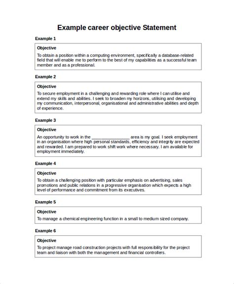 professional objective statements sle career objective statement 7 exles in word pdf