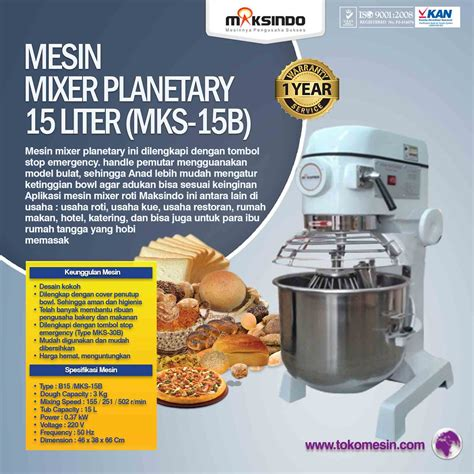 jual mesin mixer planetary 15 liter mks 15b di surabaya