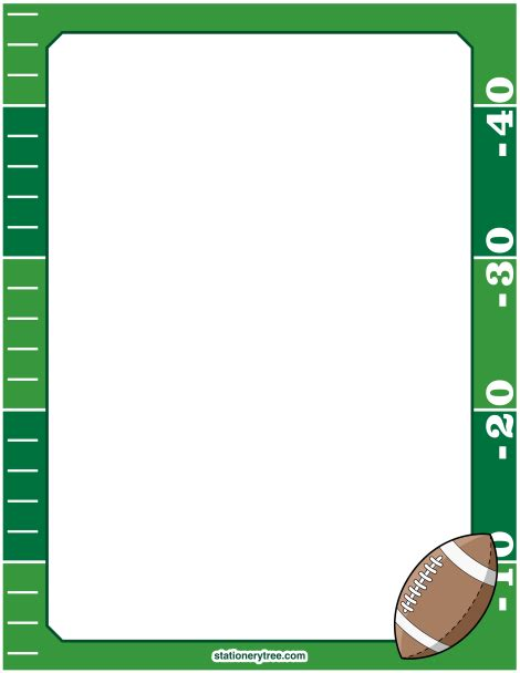 printable paper football field printable football stationery and writing paper free pdf