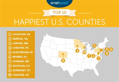 happiest states in america 2016 the happiest counties in the us the bull elephant