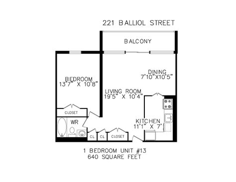640 square feet floorplans for apartments in toronto at 221 265 balliol
