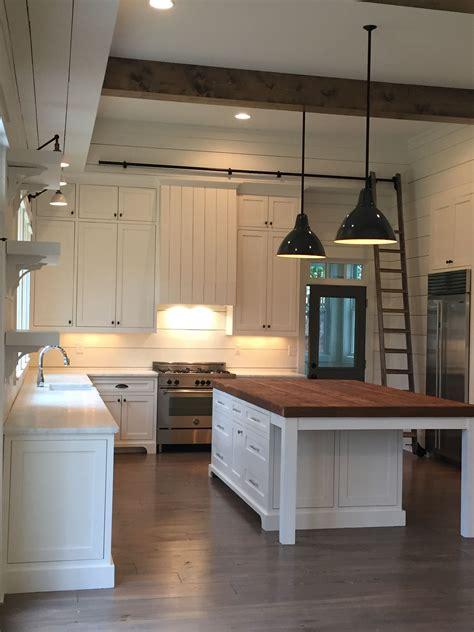 farmhouse kitchen island lighting beams pendants shiplap island lights above the