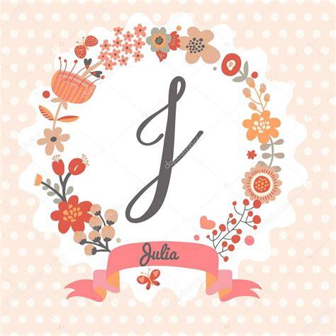 Floral J guirlanda floral letra j vetores de stock