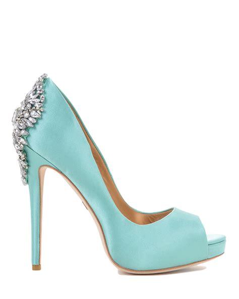 Blus Kiara badgley mischka kiara embellished peep toe in blue lyst