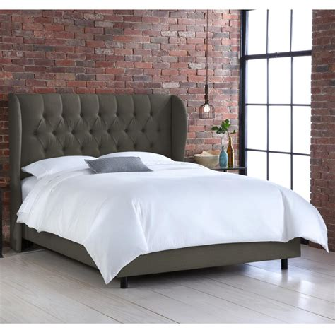 full tufted bed linen charcoal full tufted wingback bed 411bedlnnslt the