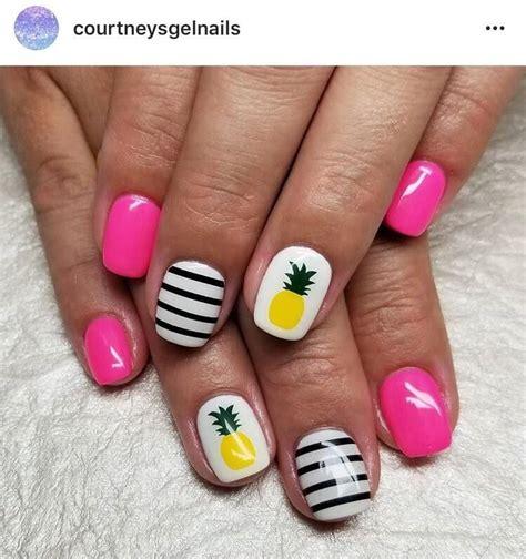 yellow dark green pineapple nail decal pineapple
