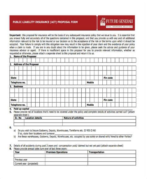 Commercial General Liability Insurance Proposal Form
