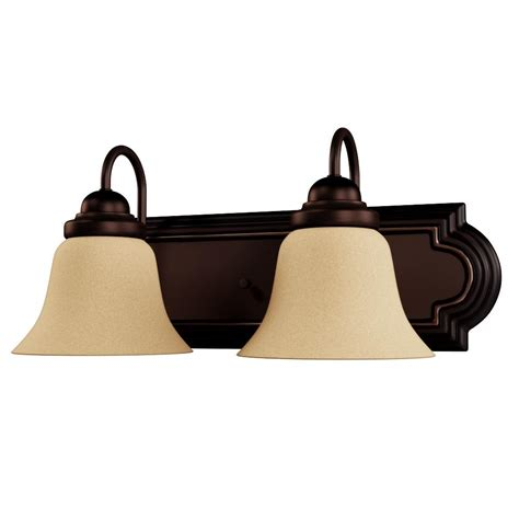 Glomar 3 Light Mahogany Bronze Vanity Light With Chagne Linen Washed Glass Hd 1265 The Home Glomar 2 Light Mahogany Bronze Vanity Light With Chagne Linen Washed Glass Hd 1264 The Home