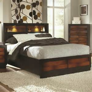 King Storage Headboard Bedroom Brown Stained Vintage Wooden Size Bed Storage Headboard With Light Plus