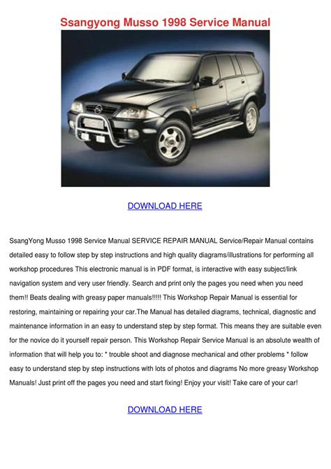 ssangyong musso 1998 service manual by russraines issuu