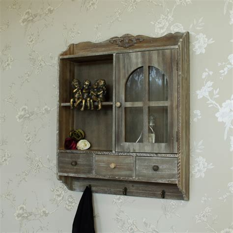 brown wood bathroom wall cabinet brown wood display cabinet hooks shabby vintage chic
