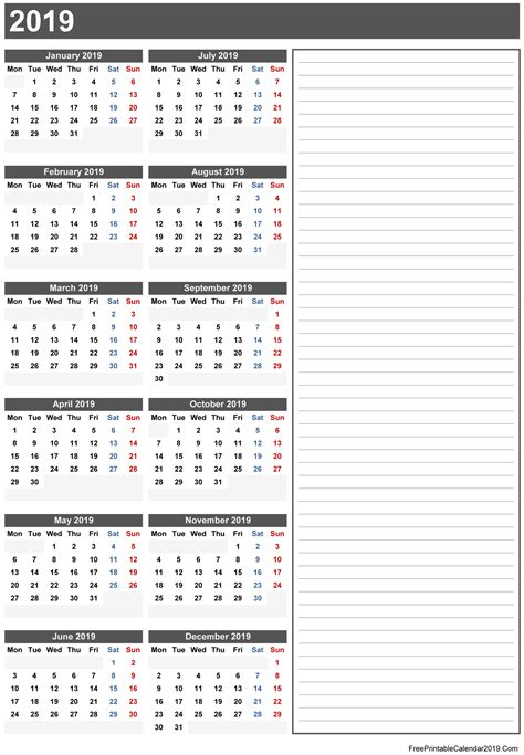 printable yearly calendar 2019 free printable calendar 2019 with holidays in word excel pdf