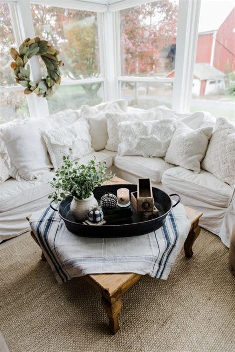 farmhouse coffee table decor a farmhouse style coffee table in the sunroom