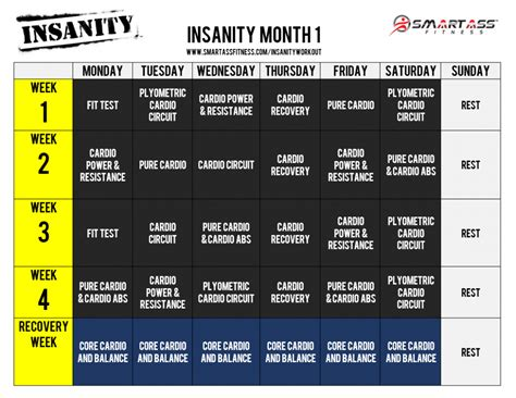 Insanity Calendar Insanity Workout Schedule Pdf Calendar Great Workout