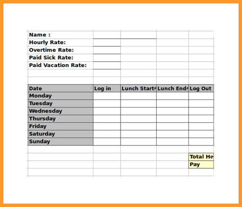 weekly timesheet vertical orientation with overtime calculation