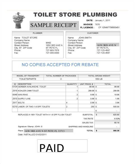 6 plumbing invoice exles in word pdf