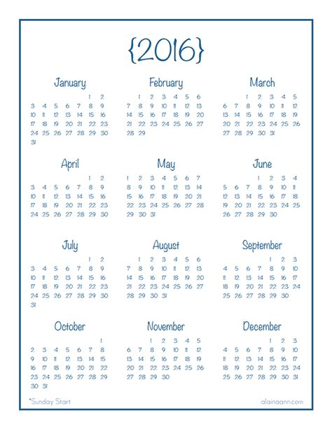 Printable Calendar Year At A Glance 2016 | 2016 year at a glance calendar organized life free
