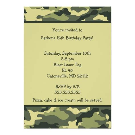 army birthday card template camo army green birthday invitation zazzle