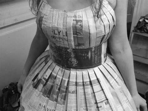 How To Make A Paper Dress - reuse newspapers make dresses