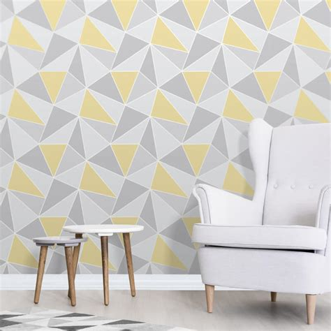 grey yellow wallpaper uk fine decor apex geo yellow grey wallpaper fd41991 ebay