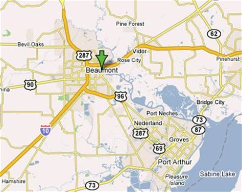 texas map beaumont beaumont texas map and beaumont texas satellite image