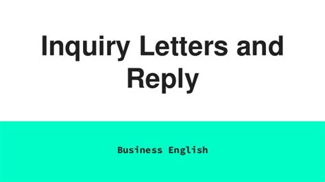 Inquiry Letter Importance business letter reply for inquiry an inquiry letter semi