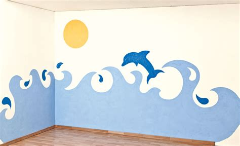 kinderzimmer wellen malen kinderzimmer wandmalerei maltechniken selbst de