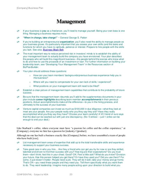 management section of business plan business plan management team sle