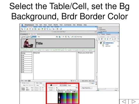 dreamweaver tutorial ppt table cell background color 28 images files