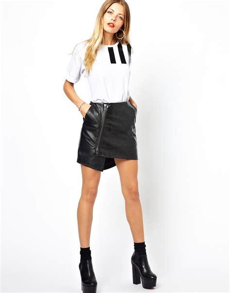 asos asos wrap skirt in leather with zip at asos