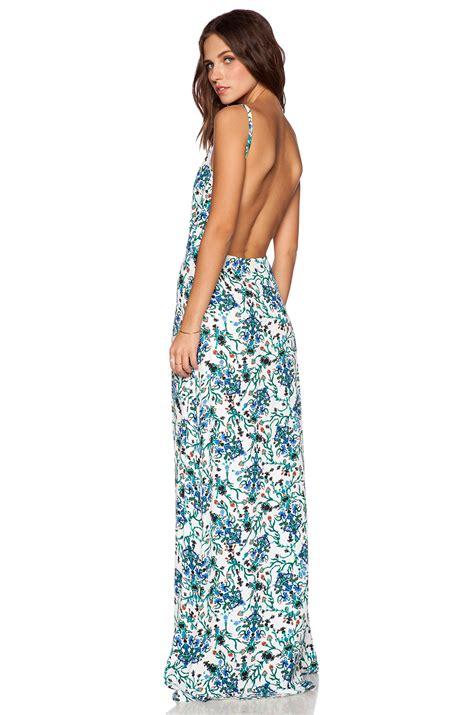 zoe ambrose open back maxi dress in blue lyst