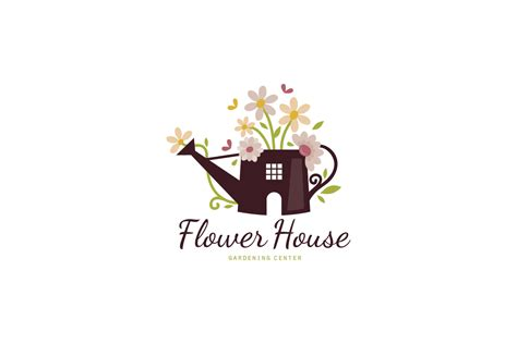 house of floral designs flower house gardening logo design logo cowboy