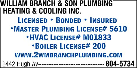 Master Plumbing License by William Branch Plumbing Heating Cooling Inc